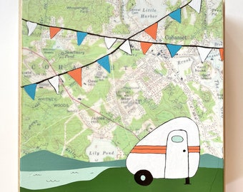 Map Painting with Cute Camper / 8x8 Mixed Media Art by Rachel Austin