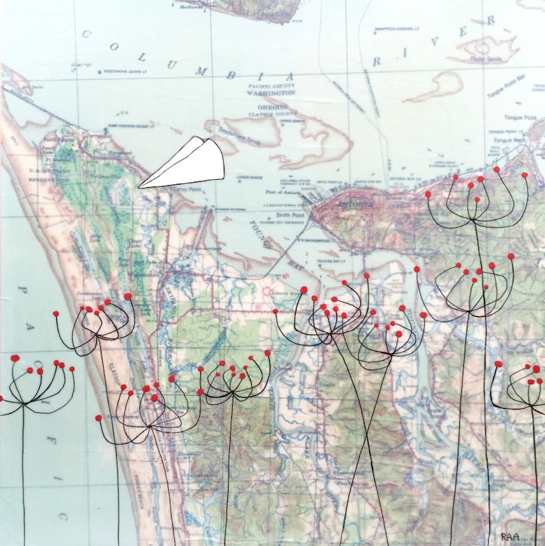 Astoria Oregon Map Art With Paper Airplanes And Flowers Etsy