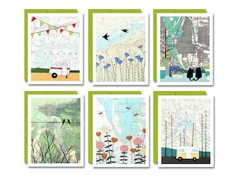 Oregon Map Art Card Set / Cute Blank Everyday Cards by Artist Rachel Austin