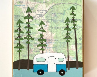 National Forest Map Painting with Cute Camper / 5x7 Mixed Media Art by Rachel Austin
