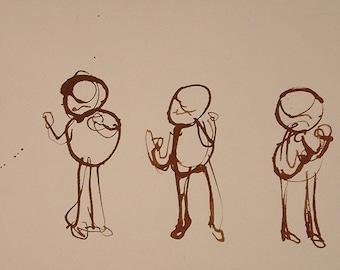 THREE DANCERS 8x10 Archival Digital Print on 11x14 paper