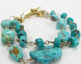 Double Strand Turquoise and Gold