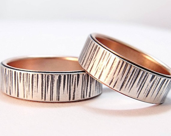 Silver And 14k Rose Gold Birch Bark Wedding Band Set - Wedding Rings For Him And Her