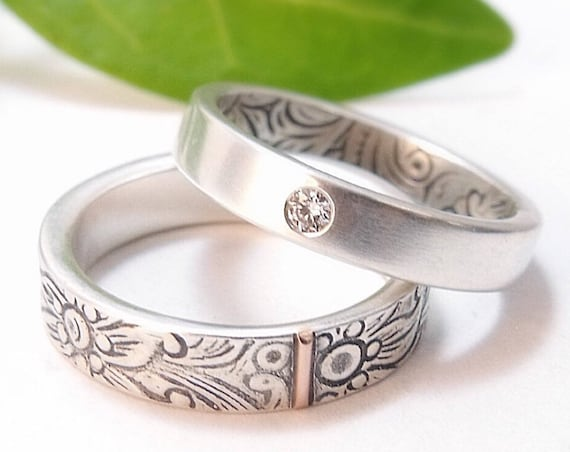 Silver And Diamond Engagement Ring And Wedding Band Set - Opposites Attract Wedding Ring Set