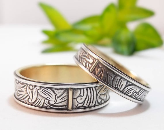 Silver And 10k Gold Sunflower Wedding Rings - Wedding Band Set For Him And Her