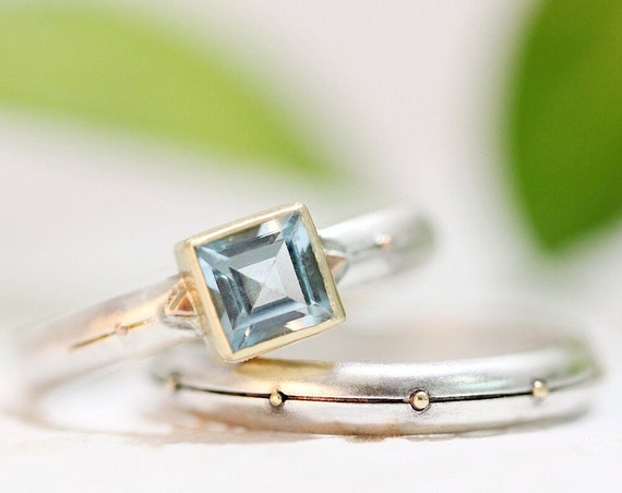 Square Sky Blue Topaz Engagement Ring