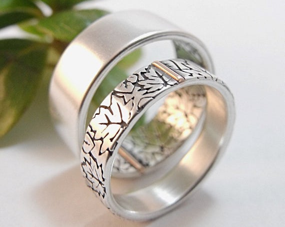 Maple And Aspen Falling Leaves Wedding Band - Wedding Band Set For Men And Women
