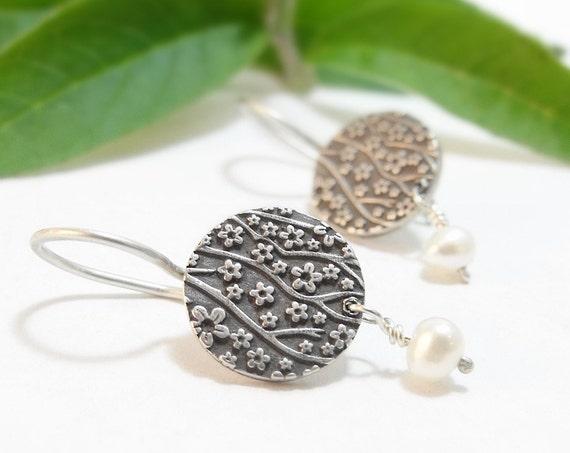 Sterling Silver Earrings Small Round Earrings Dangle Earrings Cherry Blossom Floral Earrings Silver Handmade Earrings Bridal Party Gift