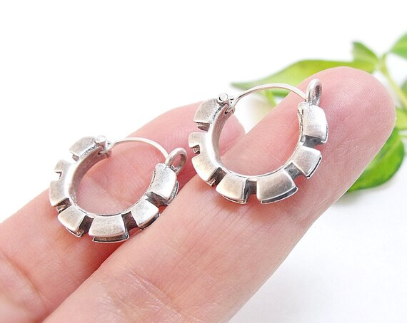 Double Cog Hoop Earrings in Sterling Silver - Akan Gold Weight of Ghana and Ivory Coast - Handmade in Seattle