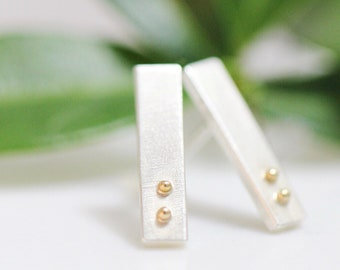 eb0e129d9 Silver Stud Earrings, Silver Post Earrings, Sterling Silver Bar Earrings,  Tiny Earrings, Small Staple Earrings Mothers Day Gift For Her