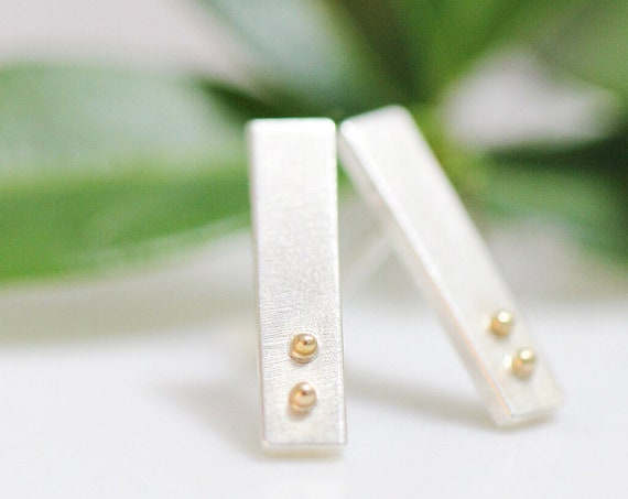 "Silver and Rose Gold ""Tinies"" - Small Rectangle Studs"