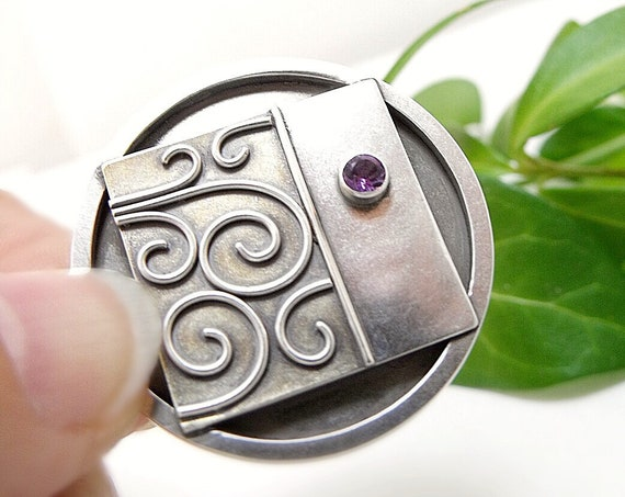 Klimt Brooch in Sterling Silver, 18k Gold, and Amethyst