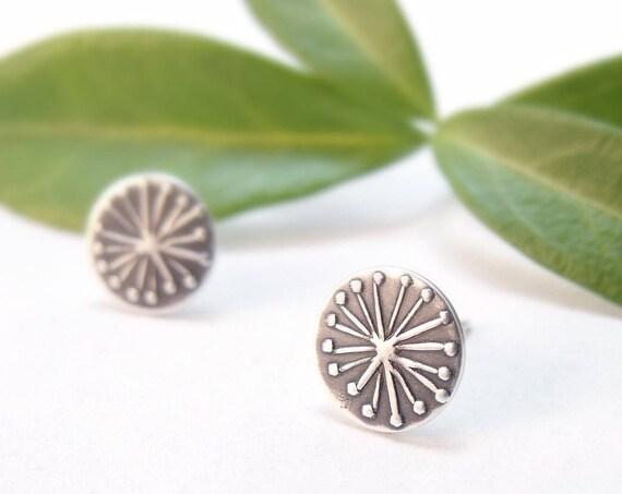 Silver Earrings Small Earrings Post Earrings Dandelion Floral Earrings Sterling Silver Handmade Earrings Bridal Party Gift Gifts For Her