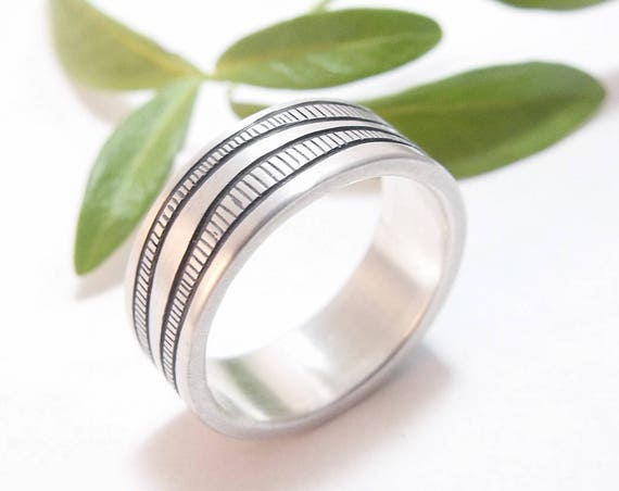 Sterling Silver Cityscape Men's Ring