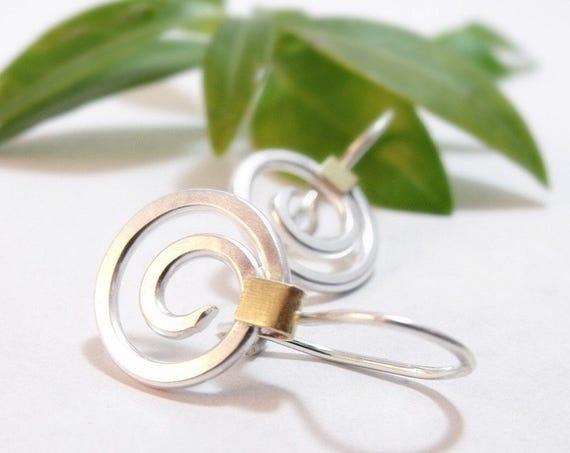 Sterling Silver Earrings Spiral Earrings Brass Accents Swirl Earrings Circle Earrings Round Earrings Dangle Earrings Gifts for Her