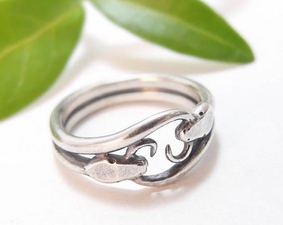Silver Double Ouroboros Snake Ring