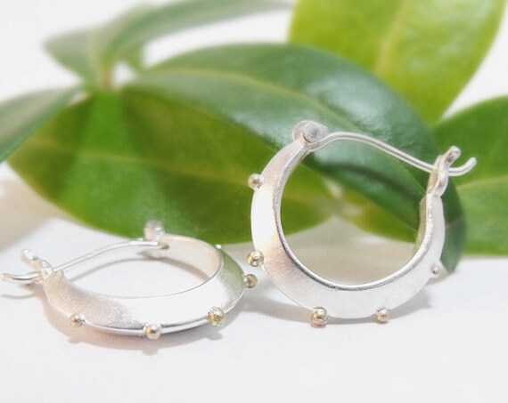 Sterling Silver Hoop Earrings Small Silver Hoops Sterling Earrings Silver Earrings with 14k Gold Granules Handmade Gifts Gifts For Her