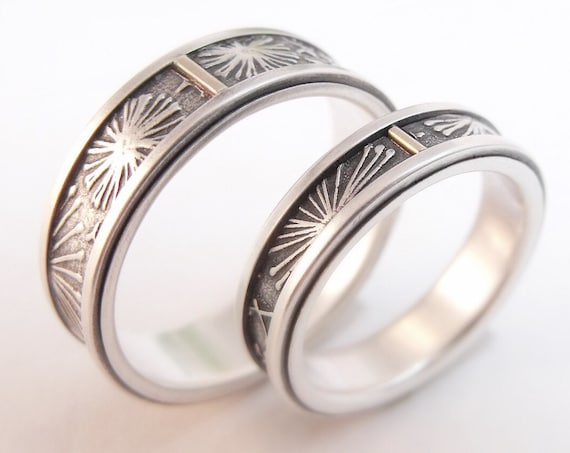 Sterling Silver Dandelion Wedding Bands - Summer Wedding Rings