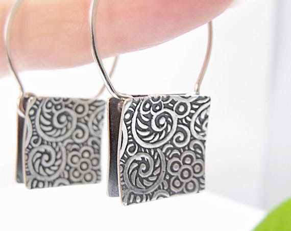 Square Tapestry Earrings in Sterling Silver