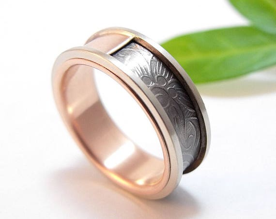 Titanium, Sterling Silver, And Rose Gold Wedding Band For Him And Her