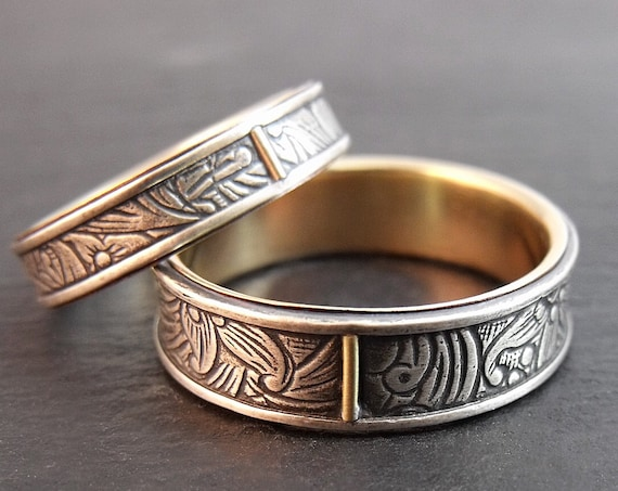 14k Yellow Gold and Sterling Silver Sunflower Wedding Band Set - Womens or Mens Wedding Ring