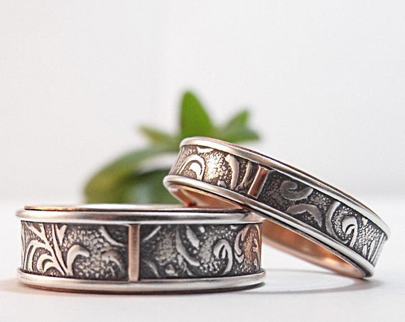 Silver And Rose Gold Wedding Bands - Florentine Floral Wedding Rings For Men and Women