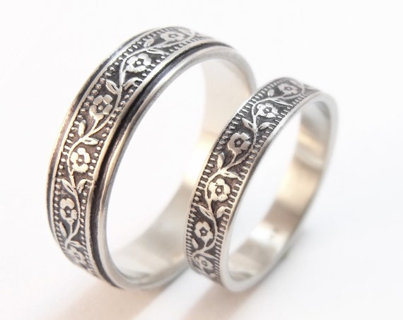 Silver Wedding Band Set - Petunia Floral Men's and Women's Wedding Rings
