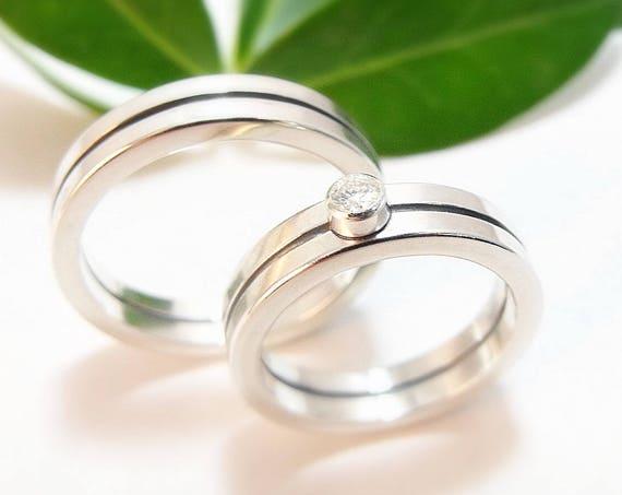 Bauhaus Wedding Set - Sterling Silver Modern Wedding Band And Engagement Ring