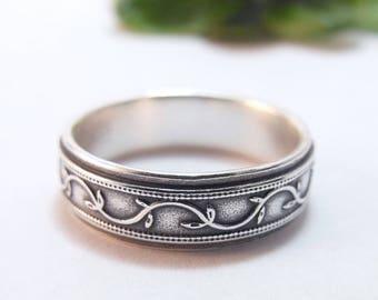 Mens Wedding Band For Him Womens Wedding Band, Silver Wedding Band, Petunia Ivy Vine Ring, Mens Wedding Ring, Womens Wedding Ring, Wide Band