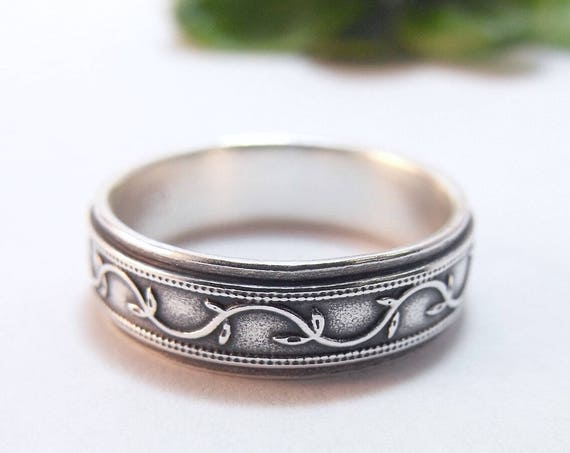 Silver Wedding Band - Wide Petunia Ivy Wedding Ring For Men or Women