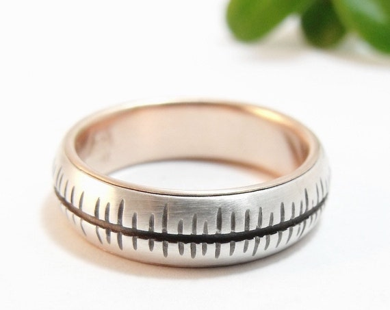 Heartbeat Band - Silver And Rose Gold Ring