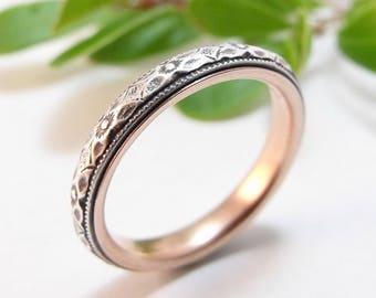 Skinny Wedding Band Womens Wedding Band Sterling Silver Wedding Rose Gold Wedding Womens Wedding Ring Womens Ring Thin Narrow Floral Wedding