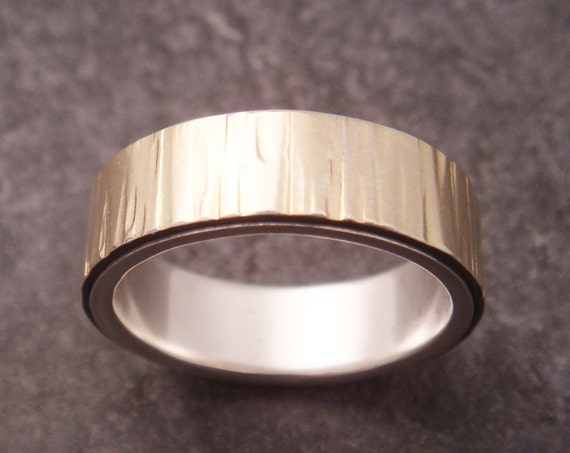 Gold Wedding Band Birch Bark Tree Bark Silver 18k Gold Wedding Ring Womens Wedding Ring Mens Wedding Ring Mens Wedding Simple Wedding Band