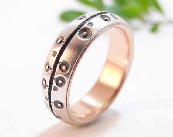 Women's Poppies Wedding Band - Silver and 14k Rose Gold Poppy Statement Ring