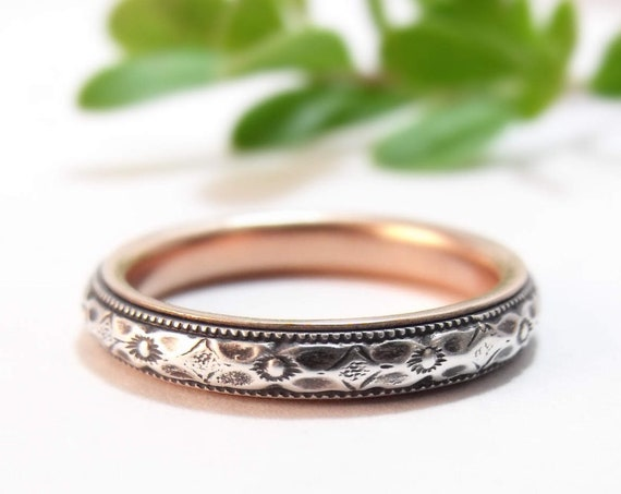 Skinny, Stackable Wedding Band for Women - Silver and 14k Gold Thin Wedding Ring