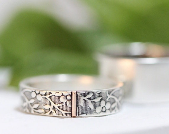 Wedding Band Set for Men and Women - Aloha Floral Wedding Rings in Silver and 14k Gold