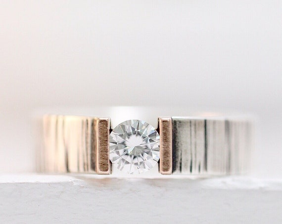 Winter Bark Engagement Ring / Wedding Band