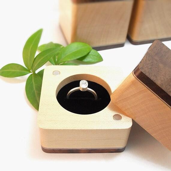 Upgrade: Handmade Wedding Ring Box Engagement Ring Box Wood Ring Box Wooden Ring Box Handmade Wood Box Ring Bearer Box (Gift Wrap Upgrade)