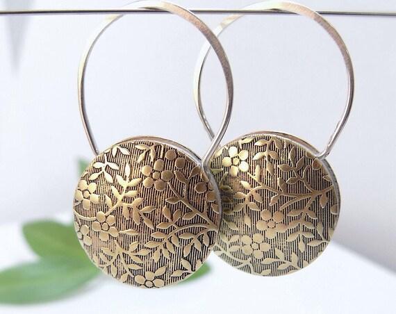 Round Silver Tapestry Earrings - Handmade Earrings