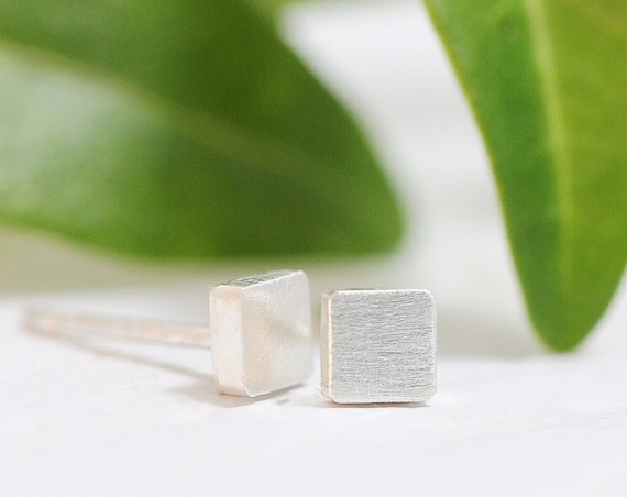Sterling Silver Square Post Stud Earrings