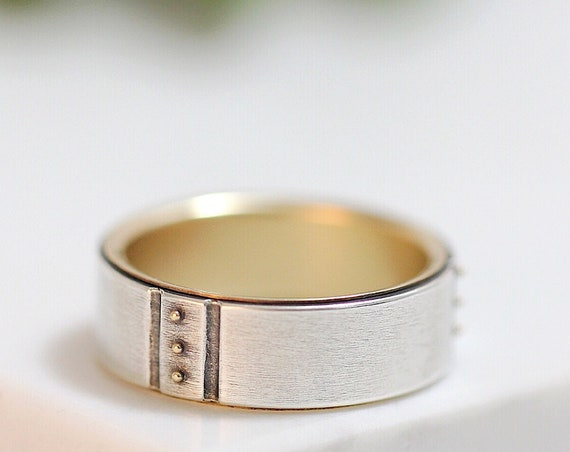 Kenzo Wedding Band - Silver And 14k Gold Wedding Ring For Men And Women
