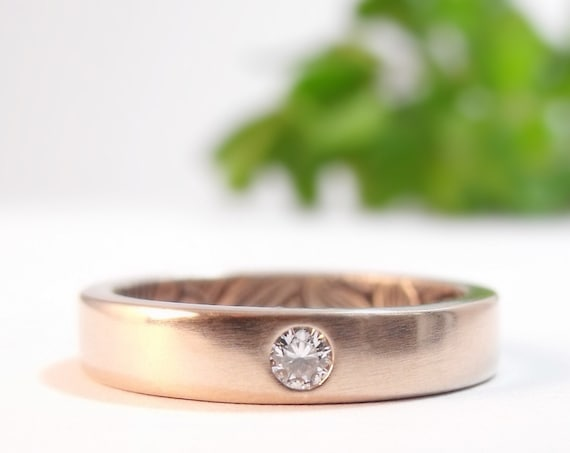 Diamond Engagement Ring, Womens Wedding Band, Rose Gold Wedding Ring, Diamond Ring, Gold Wedding Band Sunflower Womens Wedding Ring