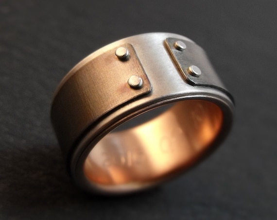 Mind The Gap Ring - Silver, Titanium, And Rose Gold Band