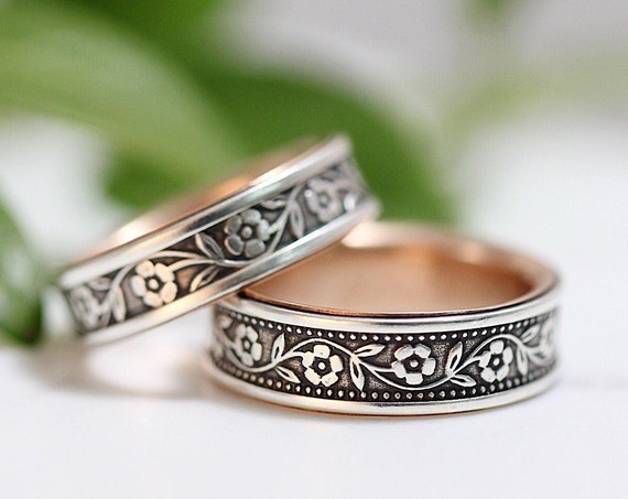 Floral Petunia Wedding Band Set Or Single Band - Sterling Silver And 14k Gold