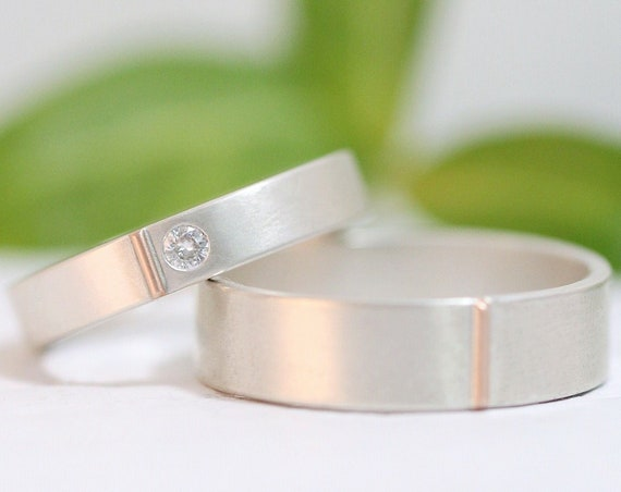 Icy Simplicity Wedding Bands