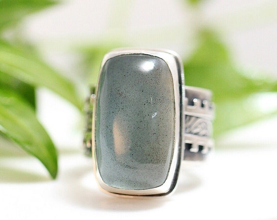 """Handmade Cocktail Ring, """"Girl Army"""" Ring, Statement Ring, Chunky Ring, Moss Aquamarine Ring in Sterling Silver"""