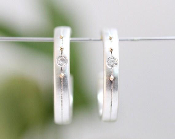 Sterling Silver Hoop Earrings, Moissanite Earrings, Moissanite Hoops, Sterling Hoops, Post Earrings, Handmade Earrings, Diamond Alternative