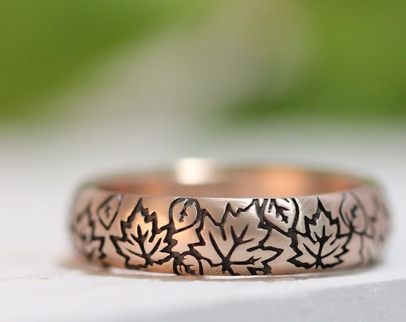 Falling Leaves 14k Rose Gold Wedding Band - Autumn Wedding - Fall Wedding