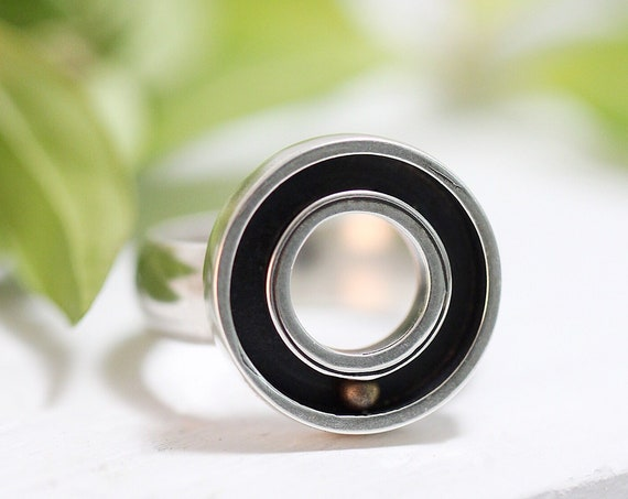 Round And Round Statement Ring - Sterling Silver and Brass - Handmade in Seattle