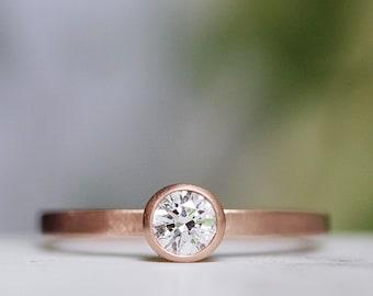 Diamond Engagement Ring, Round Diamond Ring, Modern Engagement 14k Rose Gold Ring, Engagement Band, Conflict Free Moissanite